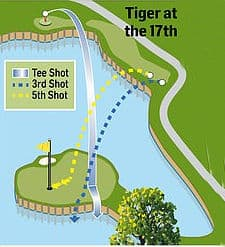 Shots Tiger Woods Played at the 17th Hole The Players Sawgrass 2019